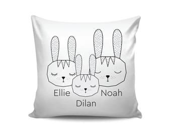 Cute Bunny Family Personalized Pillow Easter Gift Woodland Nursery Decor Custom Name Scandinavian Pillow Personalized Baby Shower Gift