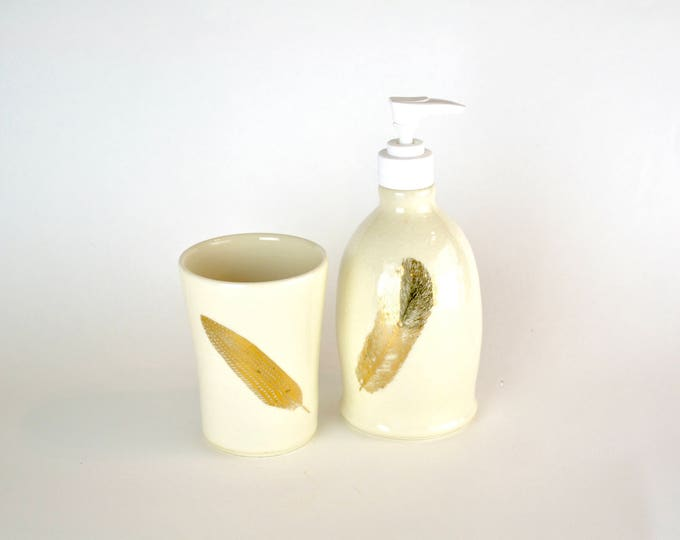 Soap dispenser and cup set bathroom set handmade pottery 22k gold feathers