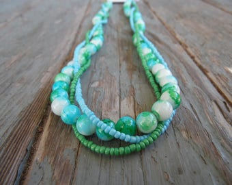 Blue and Green Marbled Necklace