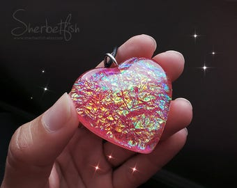 Big Pink Treasure heart necklace, dichroic glass effect, statement necklace, womens statement resin jewellery, Gifts for women