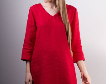 Valentines day Linen Dress, Red Linen Dress, Red Linen Tunic with up to elbow sleeve.