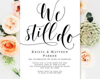 Wedding anniversary invitations Editable template Wedding vow renewal Invitation template Invitation printable 30th anniversary party #vm31