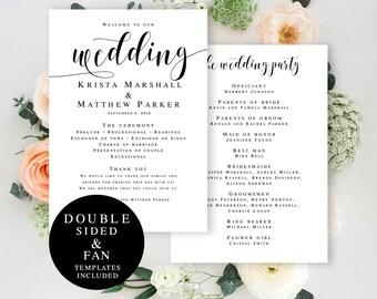 Program fan template Editable DIY Template wedding program Editable wedding program Wedding fan program template Boho wedding program #vm31
