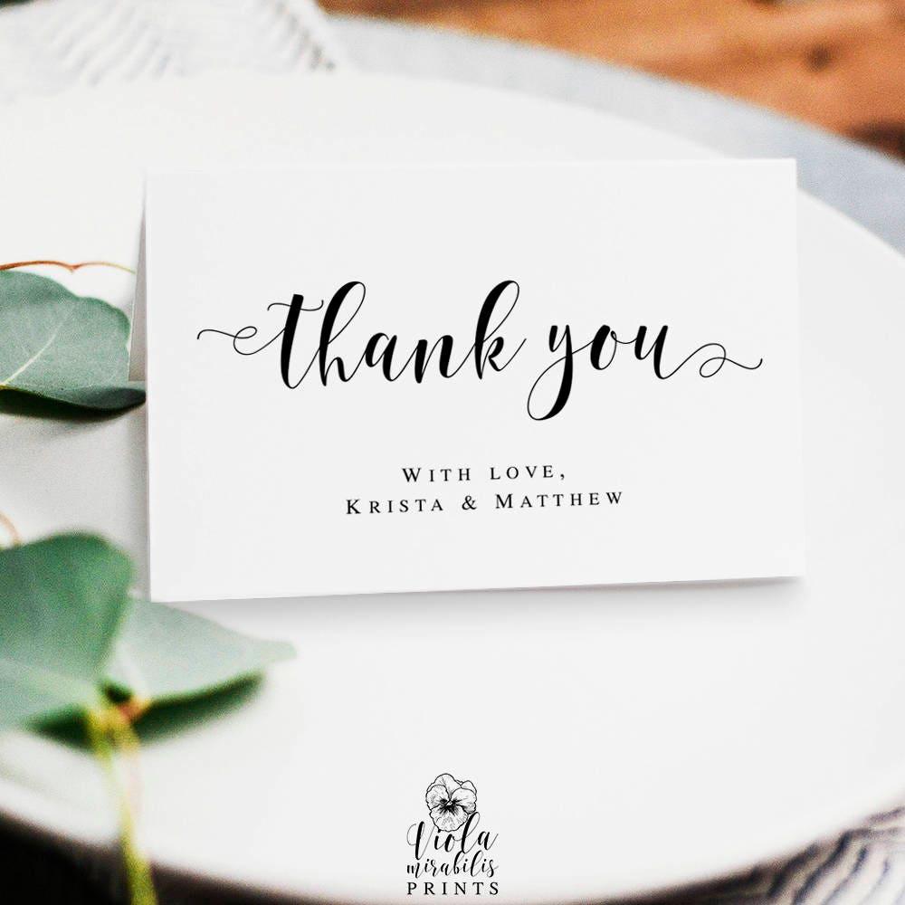 Wedding Thank You Card Template Rustic DIY