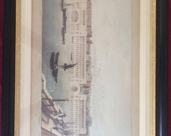 Fabulous Antique/Vintage ENGLISH PRINT with wood mat & frame.  Original price tag of 325