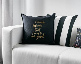 Harry Potter inspired pillow cover with gold vinyl lettering