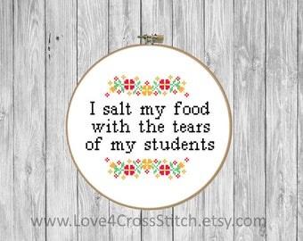 Teacher Cross Stitch Pattern Modern, School Cross Stitch, Tears Cross Stitch, Floral Cross Stitch, Clever Cross Stitch, School Quote Cross