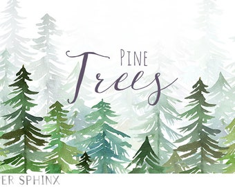 Watercolor Pine Trees Clipart | Christmas Clipart - Winter Conifers, Watercolor Forest, Winter Wedding, Digital Instant Download PNGs