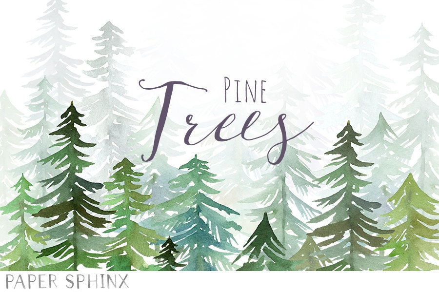 Watercolor Pine Trees Clipart Christmas Clipart Winter
