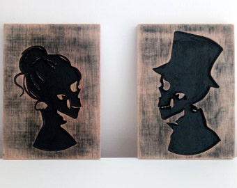 Victorian gentleman and lady skull silhouette / skull wood carving / Gothic decor / wedding gift