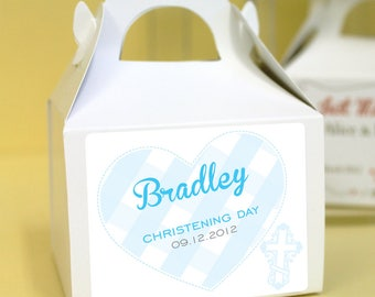 Personalised Christening / Baptism Cup Cake Boxes - Blue Gingham Heart