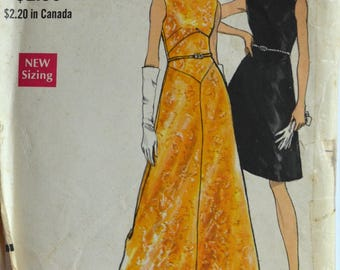 1970s Vogue Vintage Sewing Pattern 7287, Size 12; Evening Dress in Two Lengths