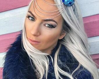 Blue Diamond Space Buns Rose Gold Hair Head Band