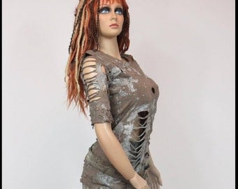 Post APOCALYPTIC TOP Mad Max Top Fallout Top BROWN Size LaRGE