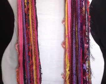 Handmade scarf, Fiber Art Scarf, fringe scarf, knotted fringe scarf, yarn scarf, rainbow color