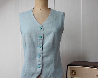 Linen, classic 90's jacket vest v-neck faded jeans color