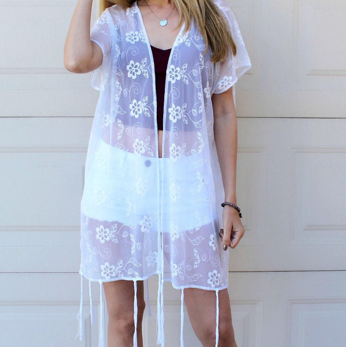 SALE White Embroidered Floral Lace Kimono Long Tassel Boho