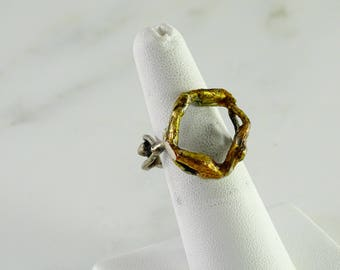 Brutalist Mixed Metal Ring Size 7.75+