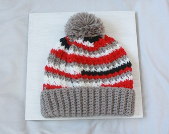Red, White, Gray, and Black Pompom Beanie Hat-Hand Crocheted Beanie-Warm Winter Hat-Team Colors Beanie-Uneven Stripes Beanie-Cardinals Hat