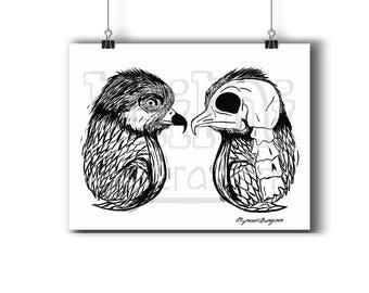 Affiche 8.5 x 11,les aigles, zombie, squelette, illustration à l'encre, oiseaux, portrait, décor maison, affiche imprimée
