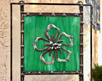 Stained Glass Window Hanging - Green with Hibiscus Flower