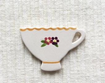 Floral Tea Cup Brooch, Ceramic Brooch, Handmade Brooch, Tea Cup Jewellery, Tea Time Brooch, Tea Drinker Gift.