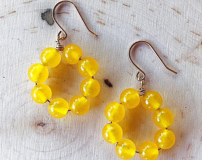 Reiki-Infused Yellow Jade Earrings, Crystal Bead Jewelry, Healing Stone, Natural Gemstone, Gold Dangle Hoops, Bohemian, Chakra Balancing