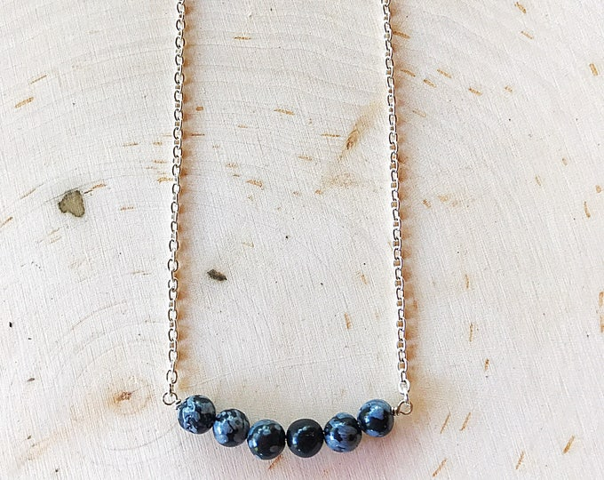 Reiki-Infused Snowflake Obsidian Necklace, Black Stone Jewelry, Healing Crystal Beads, Natural Gemstone, Silver Chain, Bohemian, Handmade