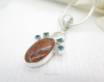 Copper Turquoise and Blue Topaz Sterling Silver Pendant and Chain