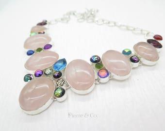 Rose Quartz Dichroic Glass Blue Topaz Sterling Silver Necklace