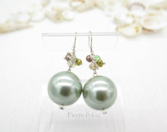 Green Fresh Water Pearl Sterling Silver Earrings