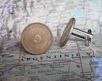 Argentina coin cufflinks - 4 different designs - made of original coins from Argentina - Buenos Aires - Iguazu - sun