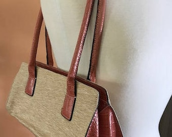 Tommy Hilfiger Shoulder Bag Faux cocodile Leather and Straw Vintage small Purse