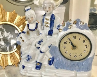 Beautiful Porcelain Quartz Clock Victorian Inspired Clock for Vanity,  table, or Mantel