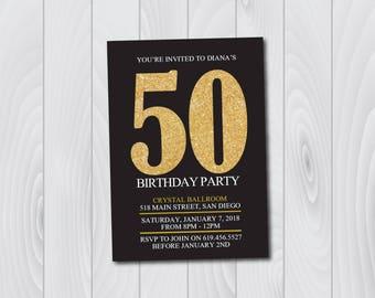 50th Birthday Invitation/Printable Gold & Black Birthday Invitation/e-card invitation/Template/Birthday Invitation/Surprise Birthday Party