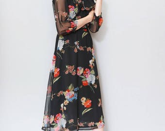Vintage 1970's Black Floral Folk Ruffled Midi Dress