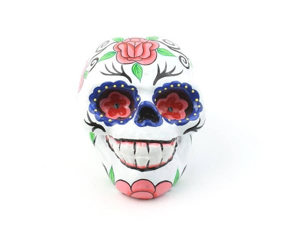 White Sugar Skull Decor, Hand Painted Skull, Mexican Sugar Skull, Home Decor, Day of the Dead, Decorative Skull