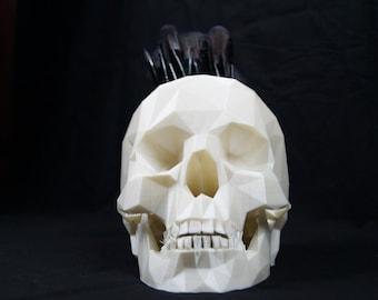 3D Printed Low Poly Skull Pot