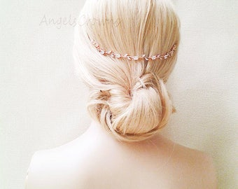 Rose Gold Hair Vine crown hair chain silver Laurel wreath bridal tiara wedding flower halo crown simple crystal bride Hair Jewelry back comb