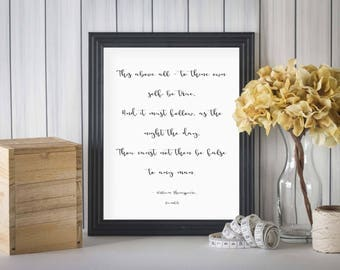 To Thine Own Self Be True, Hamlet Quotes, Shakespeare Quotes, Shakespeare Hamlet Quote, Hamlet Quote Print, Shakespeare Quote Print