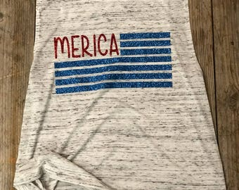 MERICA - Glitter Red & Glitter Blue - Women's Muscle Tank