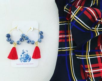 Chinoiserie Tassel Hoop Earrings | RED, blue and white, royal blue, gold, red white and blue, Ole Miss, game day, team colors, Mississippi