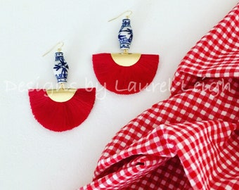 RED Ginger Jar Fan Earrings | fan, lightweight, blue and white, chinoiserie, gold, statement earrings, Designs by Laurel Leigh