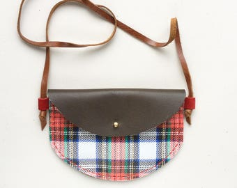 RTS plaid leather girls purse, toddler purse, Christmas purse, leather bag, kid bag, leather purse, kid purse, play bag, adventure bag