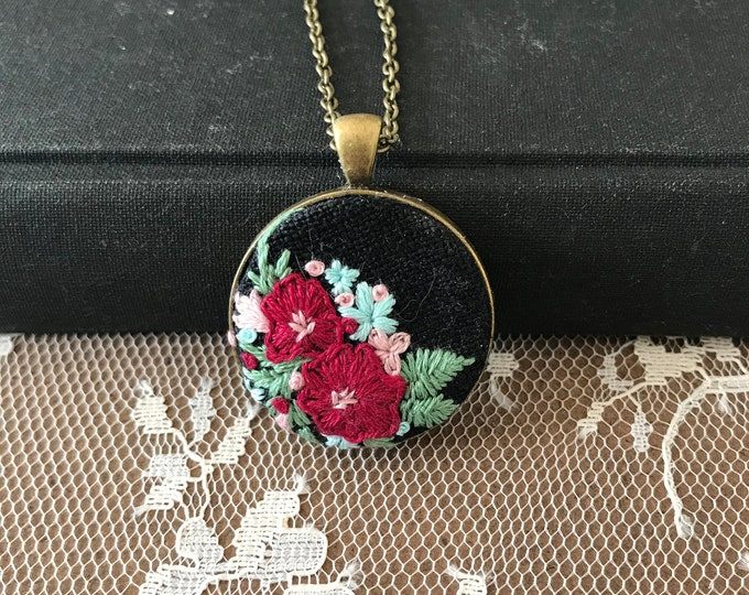 Vintage style hand embroidered floral pendant, black linen, red and pink flowers, baby blue, embroidered pendant, unique jewelry, ooak