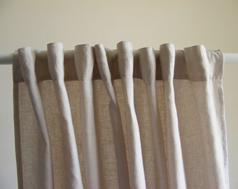 Linen Curtains / Semi-Sheer Curtain Panels / Linen Rod Pocket Drape / Back Tab Curtains / Ivory / Beige
