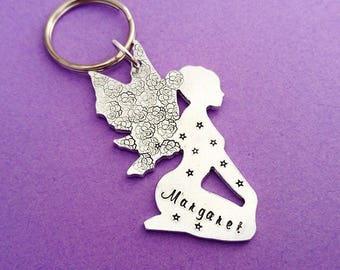 fairy keychain, fairy keyring, fairy gift, fairy charm, custom keychain, fantasy keychain, personalised keychain, personalised fairy, fairy