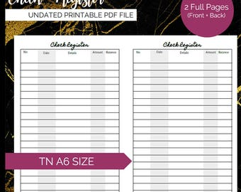 Pretty Printables: Check Register, A6 Sized TN Inserts