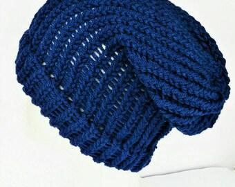 Blue dreadlocks beanie, knit dreadlock tam, blue slouch hat, vegan slouch hat, woman slouchy hat, hats for dreads, bohemian hats, lelsloom