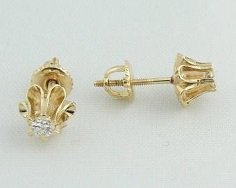 Corinthian Diamond Stud Earrings- 14k Yellow Gold